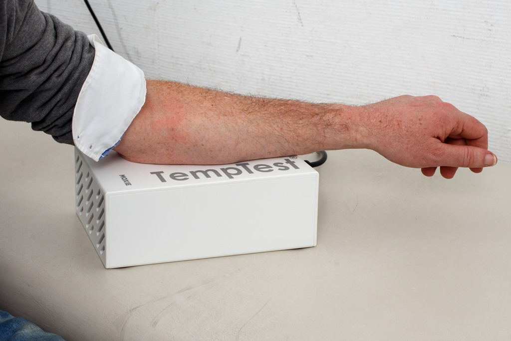 put the inner forearm 5 minutes on the TempTest®